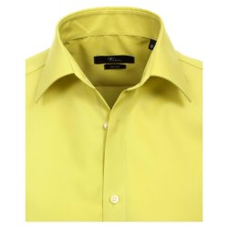 Größe 38 Venti Hemd Lindgrün Uni Langarm Slim Fit Tailliert Kentkragen 100% Baumwolle Popeline Bügelfrei