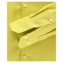 Größe 39 Venti Hemd Lindgrün Uni Langarm Slim Fit Tailliert Kentkragen 100% Baumwolle Popeline Bügelfrei