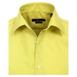 Größe 41 Venti Hemd Lindgrün Uni Langarm Slim Fit Tailliert Kentkragen 100% Baumwolle Popeline Bügelfrei