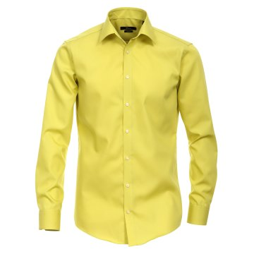 Größe 45 Venti Hemd Lindgrün Uni Langarm Slim Fit Tailliert Kentkragen 100% Baumwolle Popeline Bügelfrei