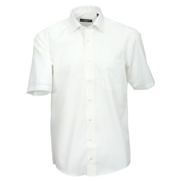 Größe 38 Casamoda Hemd Creme Uni Kurzarm Comfort Fit Normal Geschnitten Kentkragen 100% Baumwolle Bügelfrei