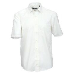 Größe 42 Casamoda Hemd Creme Uni Kurzarm Comfort Fit Normal Geschnitten Kentkragen 100% Baumwolle Bügelfrei