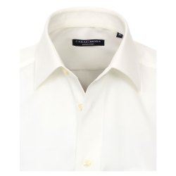 Größe 45 Casamoda Hemd Creme Uni Kurzarm Comfort Fit Normal Geschnitten Kentkragen 100% Baumwolle Bügelfrei