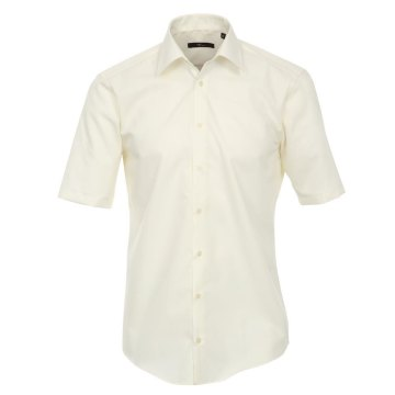 Größe 35 Venti Hemd Creme Uni Kurzarm Slim Fit Tailliert Kentkragen 100% Baumwolle Popeline Bügelfrei