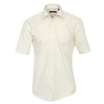 Größe 38 Venti Hemd Creme Uni Kurzarm Slim Fit Tailliert Kentkragen 100% Baumwolle Popeline Bügelfrei