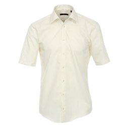 Größe 42 Venti Hemd Creme Uni Kurzarm Slim Fit...