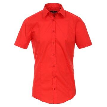 Größe 37 Venti Hemd Rot Uni Kurzarm Body Stretch Extra Schmal Kentkragen 96% Feinste Baumwolle 4% Elasthan Bügelfrei