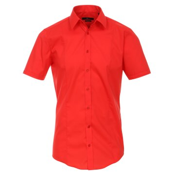 Größe 40 Venti Hemd Rot Uni Kurzarm Body Stretch Extra Schmal Kentkragen 96% Feinste Baumwolle 4% Elasthan Bügelfrei
