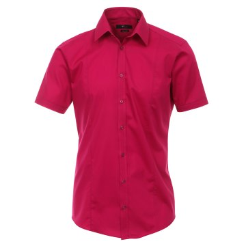 Größe 38 Venti Hemd Beere Uni Kurzarm Body Stretch Extra Schmal Kentkragen 96% Feinste Baumwolle 4% Elasthan Bügelfrei