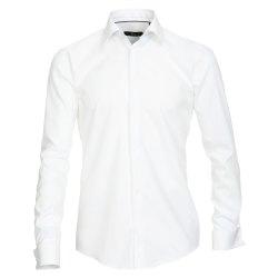 Größe 38 Venti Fest Hemd Weiss Uni 72er Extralanger Arm Slim Fit Umschlagmanschette Kentkragen 100% Baumwolle Bügelfrei