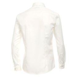 Größe 40 Venti Fest Hemd Creme Uni Langarm Slim Fit Umschlagmanschette Verdeckte Knopfleiste Kentkragen 100% Baumwolle Bügelfrei