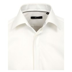 Größe 43 Venti Fest Hemd Creme Uni Langarm Slim Fit Umschlagmanschette Verdeckte Knopfleiste Kentkragen 100% Baumwolle Bügelfrei