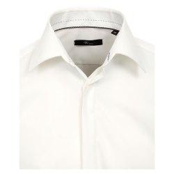 Größe 44 Venti Fest Hemd Creme Uni Langarm Slim Fit Umschlagmanschette Verdeckte Knopfleiste Kentkragen 100% Baumwolle Bügelfrei