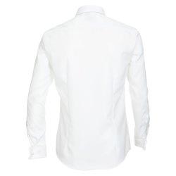 Größe 37 Venti Fest Hemd Weiss Uni Langarm Slim Fit Umschlagmanschette Verdeckte Knopfleiste Kentkragen 100% Baumwolle Bügelfrei