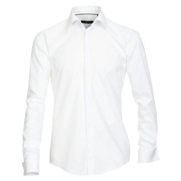 Größe 39 Venti Fest Hemd Weiss Uni Langarm Slim Fit Umschlagmanschette Verdeckte Knopfleiste Kentkragen 100% Baumwolle Bügelfrei