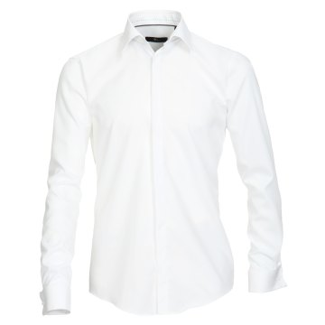 Größe 40 Venti Fest Hemd Weiss Uni Langarm Slim Fit Umschlagmanschette Verdeckte Knopfleiste Kentkragen 100% Baumwolle Bügelfrei