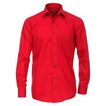 Casamoda Hemd Rot Uni Langarm Comfort Fit Normal Geschnitten Kentkragen 100% Baumwolle Bügelfrei