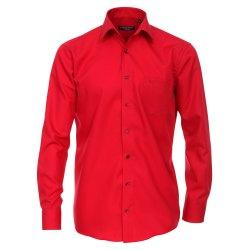 Größe 48 Casamoda Hemd Rot Uni Langarm Comfort...