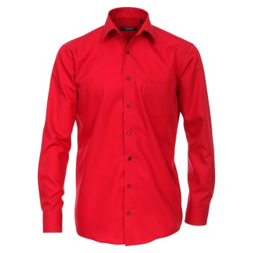 Größe 52 Casamoda Hemd Rot Uni Langarm Comfort Fit Normal Geschnitten Kentkragen 100% Baumwolle Bügelfrei