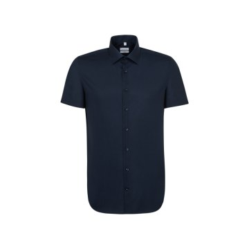 Seidensticker Schwarze Rose Hemd Shaped Fit Dunkelblau Halbarm Popeline tailliert geschnitten Kentkragen 100% Baumwolle Bügelfrei