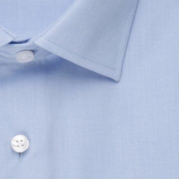 Seidensticker Schwarze Rose Hemd Slim Fit Hellblau Fil-a-Fil Kurzarm schmal geschnitten Business Kentkragen 100% Baumwolle Bügelfrei