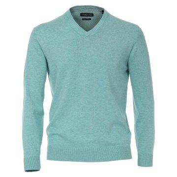 Casamoda Sport Pullover Grün Langarm Normal Geschnitten V-Neck Ausschnitt 100% Baumwolle
