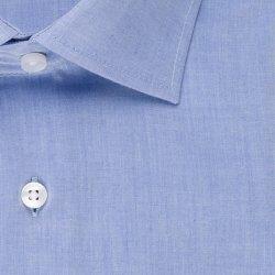 Seidensticker Schwarze Rose Hemd Regular Fit Mittelblau Brusttasche Kombimanschette Langarm Brusttasche Chambray leicht tailliert geschnitten Kentkragen 100% Baumwolle Bügelfrei