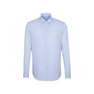 Größe 40 Seidensticker Schwarze Rose Hemd Shaped Fit Mittelblau Kombimanschette Langarm Popeline tailliert geschnitten Kentkragen 100% Baumwolle Bügelfrei