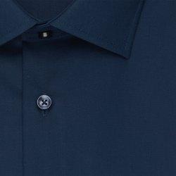 Größe 45 Seidensticker Schwarze Rose Hemd Slim Fit Dunkelblau Popeline Stretch Halbarm extra schmal geschnitten Kentkragen 100% Baumwolle Bügelfrei