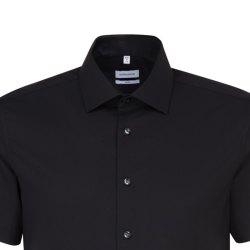 Größe 38 Seidensticker Schwarze Rose Hemd Slim Fit Schwarz Popeline Stretch Halbarm extra schmal geschnitten Kentkragen 100% Baumwolle Bügelfrei
