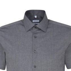 Größe 45 Seidensticker Schwarze Rose Hemd Slim Fit  Fil-a-Fil Kurzarm schmal geschnitten Dunkelgrau Business Kentkragen 100% Baumwolle Bügelfrei
