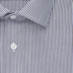 Größe 41 Seidensticker Schwarze Rose Hemd Slim Fit Dunkelblau Weiss Streifen Design Popeline weitenverstellbare Manschette Langarm schmal geschnitten Business Kentkragen 100% Baumwolle Bügelfrei