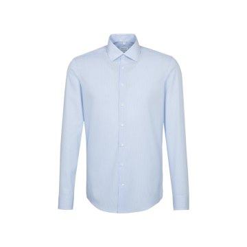 Größe 43 Seidensticker Schwarze Rose Hemd Shaped Fit Hellblau Weiss Streifen Design Popeline weitenverstellbare Manschette Langarm schmal geschnitten Business Kentkragen 100% Baumwolle Bügelfrei
