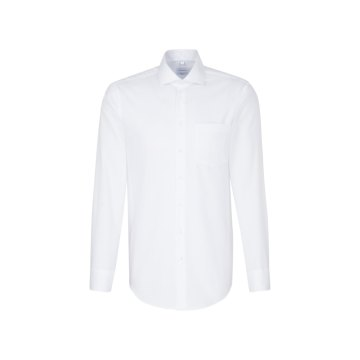 Größe 48 Seidensticker Schwarze Rose Hemd Regular Fit Weiss Oxford Webart weitenverstellbare Manschette Brusttasche Langarm gerade geschnitten Spread Kentkragen 100% Baumwolle Bügelfrei