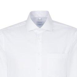 Größe 38 Seidensticker Schwarze Rose Hemd Slim Fit Weiss Struktur Webart weitenverstellbare Manschette Langarm schmal geschnitten Business Kentkragen 100% Baumwolle Bügelfrei