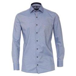 Casamoda Hemd Blau Struktur mit Besatz Langarm Modern Fit...