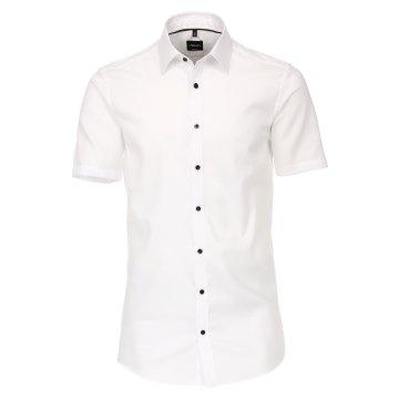 Venti Hemd Weiss Struktur Uninah Kurzarm Body Fit sehr schmale Passform Kentkragen 100 % Baumwolle Bügelleicht