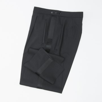 Größe 30 WILVORST Frack Hose Schwarz Normale Passform mit Bundfalte und Seidengalon