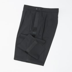Größe 52 WILVORST Frack Hose Schwarz Normale Passform mit Bundfalte und Seidengalon