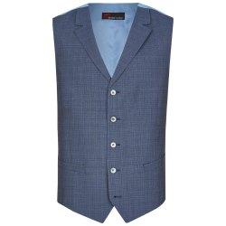 Atelier Torino Mix & Match Weste Bono Modern Fit Blau mit dezentem Karo Webmuster Schurwolle Business 891713/30