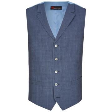 Größe 30 Atelier Torino Mix & Match Weste Bono Modern Fit Blau mit dezentem Karo Webmuster Schurwolle Hochzeitsanzug 891713/30