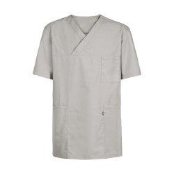 Größe XXXXL Greiff Care Unisex Schlupfkasack Kurzarm Hellgrau Lichtgrau 50 % Baumwolle 50 % Polyester Modell 5007 für Damen und Herren