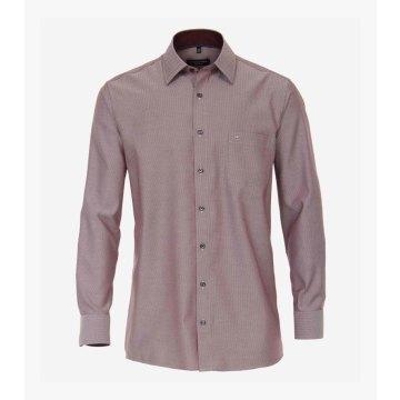 Casamoda Hemd Rot fein gemustert mit Besatz Langarm Comfort Fit Bequeme, weite Passform Kentkragen 100% Baumwolle Bügelfrei