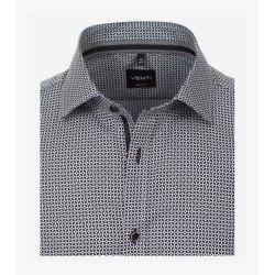 Venti Hemd mit Minimal-Print Schwarz Langarm Body Fit...