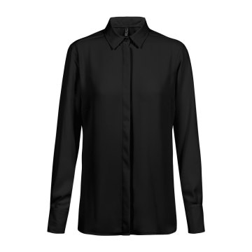 Greiff Corporate Wear Shirts Damen Chiffon Bluse Langarm Regular Fit Schwarz Verdeckte Knopfleiste Modell 6580 1440
