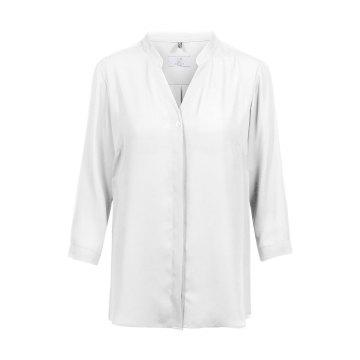 Greiff Corporate Wear Shirts Damen Chiffon Bluse mit V-Ausschnitt und Stehkragen 3/4 Arm Regular Fit Offwhite Weiss Modell 6586 1446