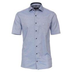 Casamoda Hemd Blau Struktur mit Besatz Kurzarm Modern Fit...