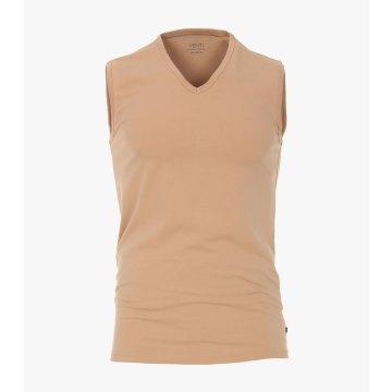 Venti T-Shirt 2er Pack Beige Ärmellos Unterhemd Tank Top Tailliert Geschnitten V Neck Ausschnitt 95% Baumwolle 5% Elasthan
