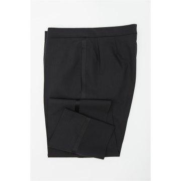 Größe 48 WILVORST Smoking Hose Schwarz Slim Line mit Galon Schwarz 100% Schurwolle