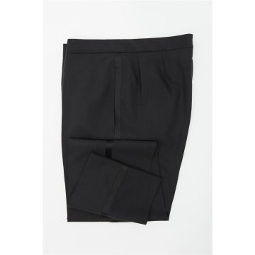 Größe 94 WILVORST Smoking Hose Schwarz Slim Line mit Galon Schwarz 100% Schurwolle